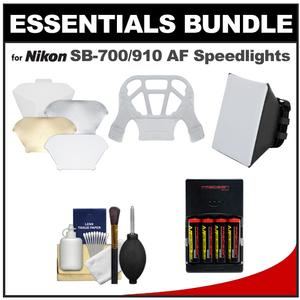 Essentials Bundle for Nikon SB-500 SB-700 SB-910 and SB-5000 AF Speedlight Flashes with AA Batteries-Charger + Soft Box + Bounce Diffuser + Cleaning Kit
