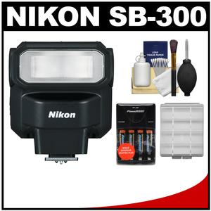 Nikon SB-300 AF Speedlight Flash with Batteries and Charger + Cleaning and Accessory Kit