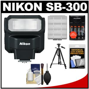Nikon SB-300 AF Speedlight Flash with Batteries and Charger + Tripod + Cleaning and Accessory Kit
