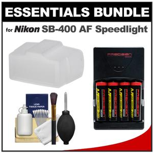 Essentials Bundle for Nikon SB-400 AF Speedlight Flash with Batteries/Charger + Bounce Flash Diffuser + Cleaning Kit