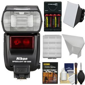 Nikon SB-5000 AF Speedlight Flash with Softbox and Diffuser and Batteries and Charger and Kit