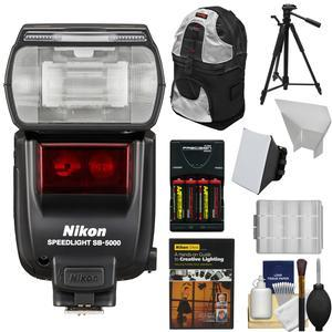 Nikon SB-5000 AF Speedlight Flash with Sling Backpack and Diffusers and Tripod and Batteries and Charger and Kit