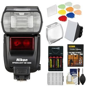 Nikon SB-5000 AF Speedlight Flash with Color Filters and Holder and Diffuser and Batteries and Charger and Kit