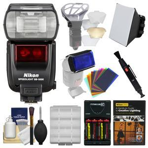 Nikon SB-5000 AF Speedlight Flash with Soft Box and Diffuser Bouncer and Color Gels and Batteries and Charger and Lighting DVD and Kit