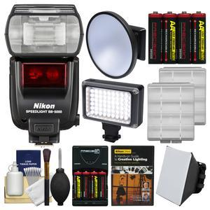 Nikon SB-5000 AF Speedlight Flash with Soft Box + Video Light + Diffuser Dish + Batteries and Charger + Lighting DVD + Kit