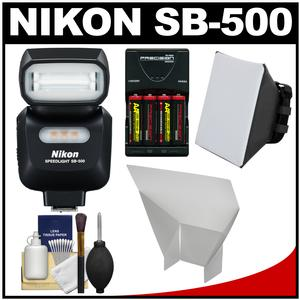 Nikon SB-500 AF Speedlight Flash and LED Video Light with Batteries and Charger + Softbox + Reflector Kit