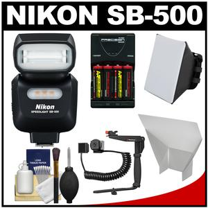 Nikon SB-500 AF Speedlight Flash and LED Video Light with Bracket + Batteries and Charger + Softbox + Reflector Kit