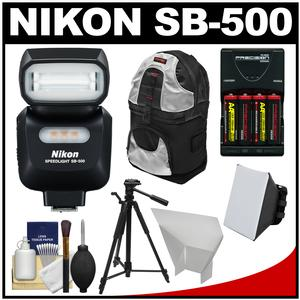Nikon SB-500 AF Speedlight Flash and LED Video Light with Backpack + Tripod + Batteries and Charger + Softbox + Reflector Kit