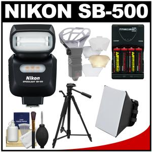 Nikon SB-500 AF Speedlight Flash and LED Video Light with Tripod + Batteries and Charger + Softbox + Reflector Kit