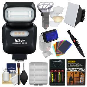 Nikon SB-500 AF Speedlight Flash and LED Video Light with Soft Box + Diffuser Bouncer + Color Gels + Batteries and Charger + Lighting DVD + Kit