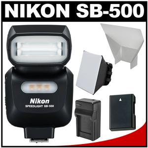 Nikon SB-500 AF Speedlight Flash and LED Video Light with EN-EL14 Battery and Charger + Softbox + Reflector Kit