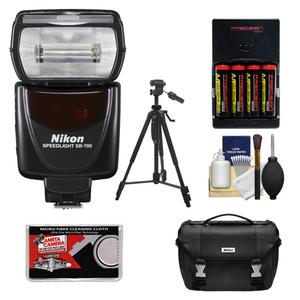 Nikon SB-700 AF Speedlight Flash with Case and Tripod and-4-Batteries and Charger and Cleaning Kit