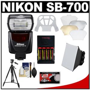 Nikon SB-700 AF Speedlight Flash with Softbox + Diffuser + - 4 - Batteries and Charger + Tripod + Accessory Kit