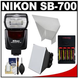 Nikon SB-700 AF Speedlight Flash with Softbox and Bounce Reflector and-4-Batteries and Charger and Accessory Kit