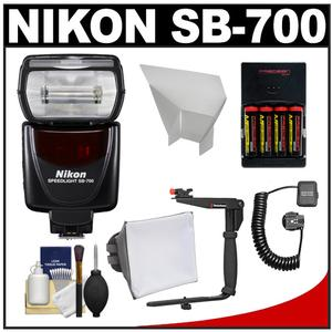 Nikon SB-700 AF Speedlight Flash with Bracket and Shoe Cord and Softbox and Bounce Reflector and Batteries and Charger and Cleaning Kit