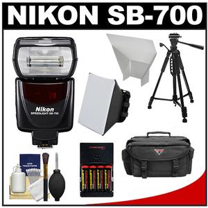 Nikon SB-700 AF Speedlight Flash with Softbox and Bounce Reflector and Batteries and Charger and Case and Tripod and Accessory Kit