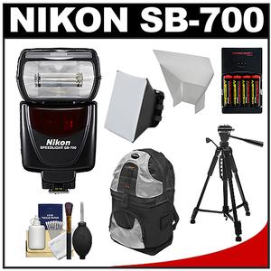 Nikon SB-700 AF Speedlight Flash with Tripod and Softbox and Bounce Reflector and Batteries and Charger and Backpack and Cleaning Kit