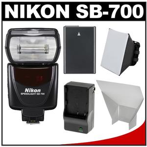 Nikon SB-700 AF Speedlight Flash with EN-EL14 Battery and Charger + Softbox + Reflector for D3300 D3400 D5300 D5500 D5600