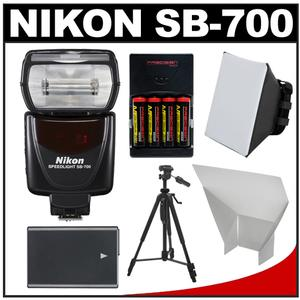 Nikon SB-700 AF Speedlight Flash with EN-EL14 and AA Batteries + Tripod + Softbox + Reflector for D3300 D3400 D5500 D5600