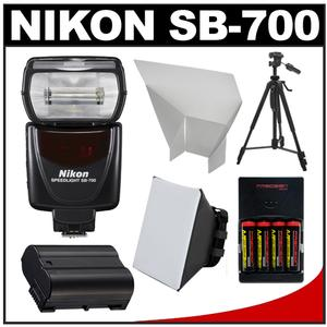 Nikon SB-700 AF Speedlight Flash with EN-EL15 and Batteries and Tripod and Softbox and Reflector for D7100 D7200 D610 D750 D810
