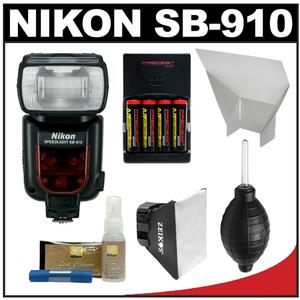 Nikon SB-910 AF Speedlight Flash with Batteries Charger Softbox Reflector Cleaning Kit