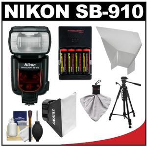Nikon SB-910 AF Speedlight Flash with Batteries Charger Softbox Reflector Tripod Cleaning Kit