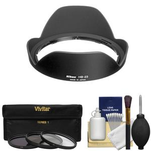 Nikon HB-23 Bayonet Lens Hood for 10-24mm 17-35mm f-2.8 12-24mm DX 16-35mm f-4 with 3 UV-CPL-ND8 Filters and Cleaning Kit