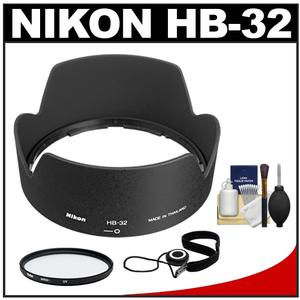 Nikon HB-32 Bayonet Lens Hood for 18-70mm 18-135mm 18-105mm 18-140mm VR DX Nikkor Lens with UV Filter and Accessory Kit