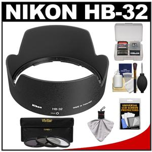 Nikon HB-32 Bayonet Lens Hood for 18-70mm 18-135mm 18-105mm 18-140mm VR DX Nikkor Lens with 3-UV-ND8-CPL-Filter Set and Accessory Kit