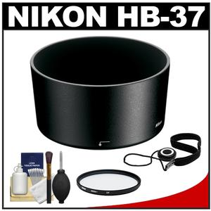 Nikon HB-37 Bayonet Lens Hood for 55-200mm f-4-5.6G DX VR and VR II 85mm f-3.5 VR Micro with UV Filter and Accessory Kit