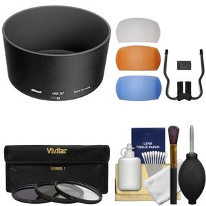 Nikon HB-37 Bayonet Lens Hood for 55-200mm f-4-5.6G DX VR and VR II 85mm f-3.5 VR Micro with 3 UV-CPL-ND8 Filters and Diffusers and Kit