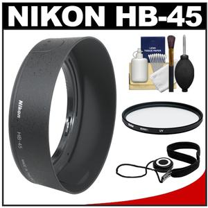 Nikon HB-45 Bayonet Lens Hood for 18-55mm VR G DX AF-S with UV Filter and Accessory Kit