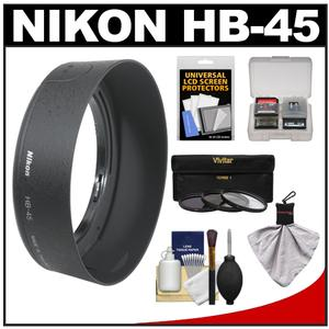 Nikon HB-45 Bayonet Lens Hood for 18-55mm VR G DX AF-S with 3-UV-CPL-ND8-Filter Set and Accessory Kit