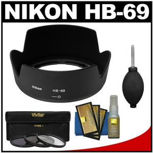 Nikon HB-69 Bayonet Lens Hood for 18-55mm G VR II DX AF-S with 3 UV-CPL-ND8 Filters and Cleaning Kit
