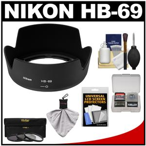 Nikon HB-69 Bayonet Lens Hood for 18-55mm G VR II DX AF-S with 3 UV-CPL-ND8 Filters and Accessory Kit