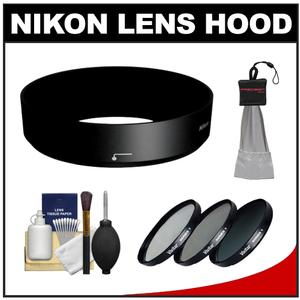 Nikon HB-N101 Bayonet Lens Hood for Nikon 1 10-30mm VR-Black-with 40.5mm-UV-CPL-ND8-Filter Set and Cleaning Kit