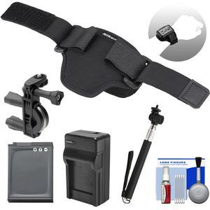 Nikon AA-13 Wristband for KeyMission ML-L6 Remote and 170-360 Cameras with EN-EL12 Battery and Charger + Bike Handlebar Mount + Selfie Stick Kit