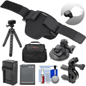 Nikon AA-13 Wristband for KeyMission ML-L6 Remote and 170-360 with EN-EL12 Battery-Charger + Handlebar and Suction Cup Mount + Case + Tripod Kit
