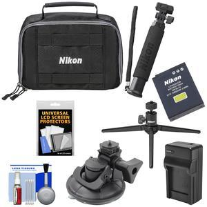 Nikon KeyMission 170 and 360 Action Camera Accessory Pack with Case + EN-EL12 Battery and Charger + Tripod + Extension Arm + Suction Cup Mount + Kit