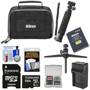 Nikon KeyMission 170 and 360 Action Camera Accessory Pack with 64GB Card + Case + EN-EL12 Battery and Charger + Tripod + Extension Arm + Kit