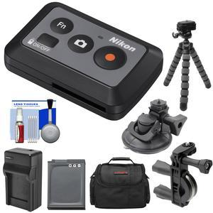 Take Offer Nikon ML-L6 Wireless Shutter Release Remote Control for KeyMission 170 & 360 Action Camera with Bike Handlebar & Suction Cup Mount + EN-EL12 Battery & Charger + Case + Tripod + Kit Before Too Late