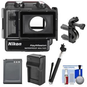 Nikon WP-AA1 Waterproof Case for KeyMission 170 with EN-EL12 Battery and Charger + Bike Handlebar Mount + Monopod Selfie Stick + Kit
