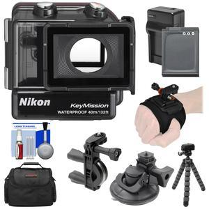 Nikon WP-AA1 Waterproof Case for KeyMission 170 with EN-EL12 Battery and Charger + Handlebar and Hand-Wrist Mount + Case + Flex Tripod + Kit