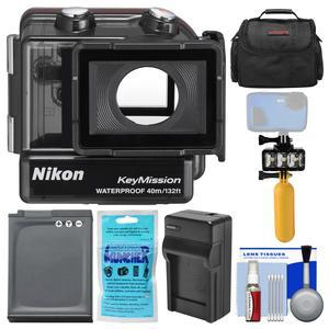 Nikon WP-AA1 Waterproof Case for KeyMission 170 with Case + EN-EL12 Battery and Charger + Underwater Light + Floating Handle + Kit