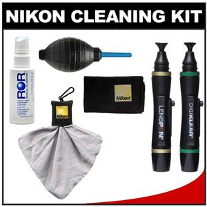 Nikon Digital Camera and Lens Cleaning Kit with LensPens + Cloth + Lens Cloth Spudz + Fluid Spray + Hurricane Blower