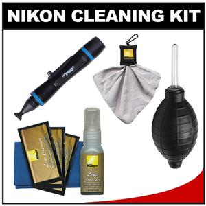 Nikon Digital Camera and Lens Cleaning Kit with Nikon Clothes Fluid LensPen Lens Cloth Spudz + Hurricane Blower