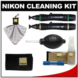 Nikon 3-Piece Lens Cleaning Kit - Microfiber Cloth-Fluid-Moist Cloths - with Lenspens + Cloth + Spudz + Anti-Fog + Blower