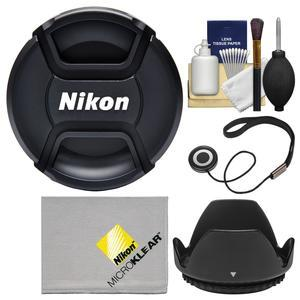 Nikon LC-72 72mm Snap-on Lens Cap with Lens Hood + Cap Keeper + Lens Cleaning Kit