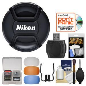 Nikon LC-77 77mm Snap-On Lens Cap with Flash Diffusers + Card Reader + Lens Cleaning Kit