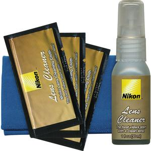 Nikon 3-Piece Lens Cleaning Kit - Microfiber Cloth - Fluid - Moist Cloths -